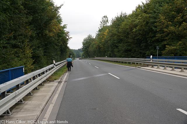 durchwachsener Weg, entlang der Autobahn und über die Bundesstrasse ist nicht so komisch, dafür der Rest echt gut